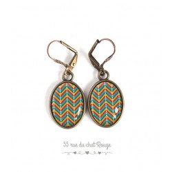 Earrings, Oval, Pattern mutlicouleur herringbone, geometric, bronze, woman's jewelry