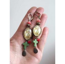 Earrings, cabochon 18x25 mm, religious inspiration, Virgin Mary, Cross, Bronze, Women's jewelry