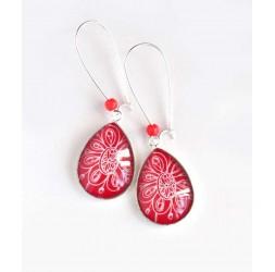 Boucles d'oreilles, goutte, floral rouge et blanc, argentées, bijoux pour femme