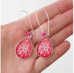 Earrings, drop, red and white floral, silver, woman's jewelry