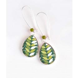 Boucles d'oreilles, goutte, feuillage géométrique, vert et blanc, argentées, bijoux pour femme