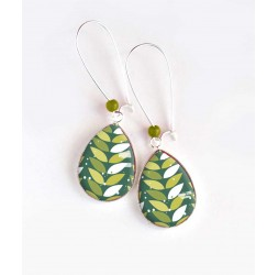 Earrings, drop, geometric foliage, green and white, silver, woman's jewelry