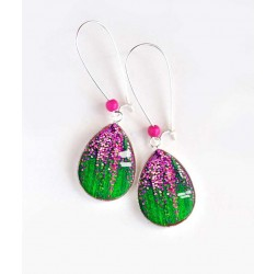 Earrings, drop, glitter fuchsia, green grass, silver, woman's jewelry