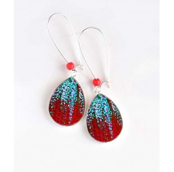 Earrings, drop, glitter sky blue, and red, silver, woman's jewelry