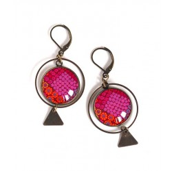 Earrings, round, floral design, red and fuchsia, inspiration India, bronze, woman's jewelry