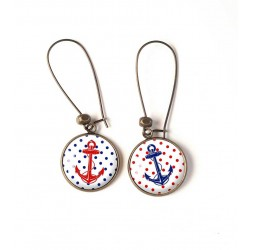 Earrings, navy anchor, small red dots blue, bronze, woman's jewelry