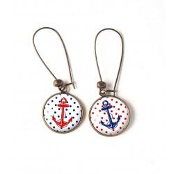 Orecchini, navy ancoraggio, piccoli puntini rossi blu, bronzo, gioielli della donna