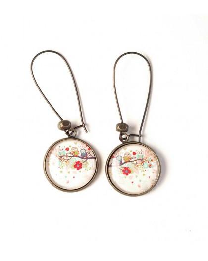 Earrings, Owls on branch, floral, bronze, women's jewellery