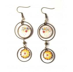 Orecchini, doppia cabochon, gufi sul ramo, colori di primavera, in bronzo, gioielli della donna