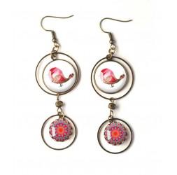 Boucles d'oreilles, double cabochon, petit oiseau rouge, mandala fushia bleu, bronze, bijoux pour femme
