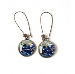 Earrings, planet earth, universe, blue, green, bronze, woman's jewelry