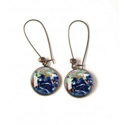 Ohrringe, Planet Erde, Universum, blau, grün, bronze, Frau Schmuck