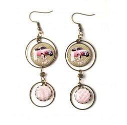 Boucles d'oreilles, double cabochon, dolce vita, Fiat 500 rose, bronze, bijoux pour femme