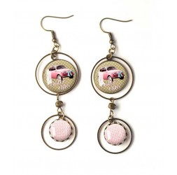 Earrings, double cabochon dolce vita, Fiat 500 pink, bronze, woman's jewelry