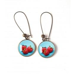 Boucles d'oreilles, Fruit, fraise, rouge et bleu, bronze, bijoux pour femme