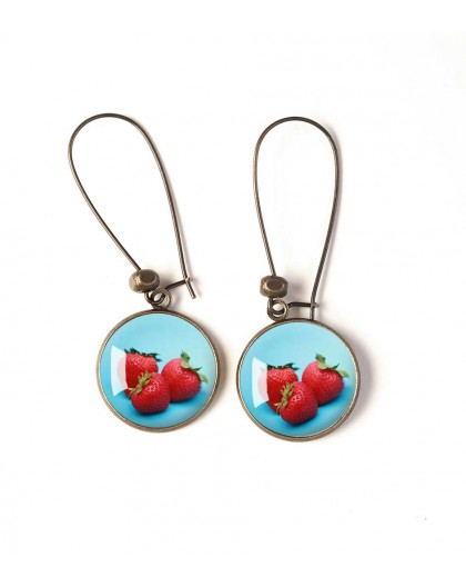 Earrings, fruit, strawberry, red and blue, bronze, woman's jewelry