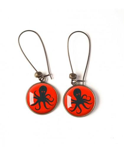 Earrings, black octopus, red, bronze, woman's jewelry