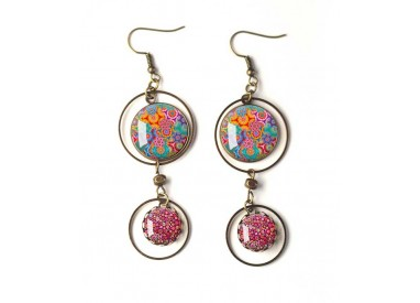 Earrings, double cabochon, Bohemia, floral, gypsy, multicolor, bronze, woman's jewelry