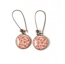 Boucles d'oreilles, motif fleuri, tons roses beige, pastels, bronze, bijoux pour femme