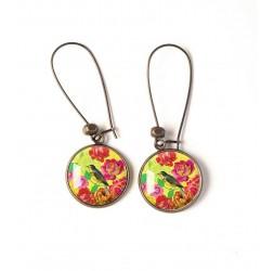 Orecchini, modello di ispirazione giapponese, fiore rosso, uccelli, giallo, bronzo, gioielli della donna