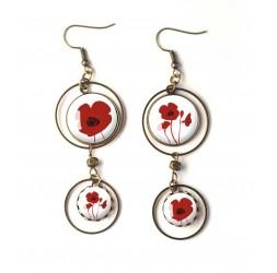Ohrringe, Doppel Cabochon, rote Mohnblumen, weiß, Bronze, Frau Schmuck