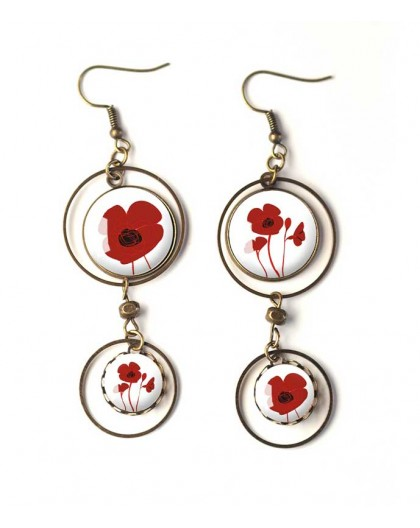 Earrings, double cabochon, red poppies, white, bronze, woman's jewelry