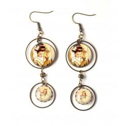 Ohrringe, Doppel Cabochon, Geisha, Japan, Vogel, beige, braun, Bronze, Frau Schmuck