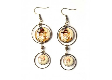 Earrings, double cabochon, geisha, japan, bird, beige, brown, bronze, woman's jewelry