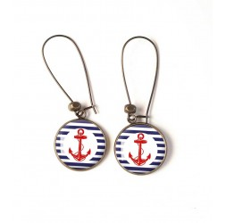 Earrings, Red Anchor, sailor, bronze, woman's jewelry