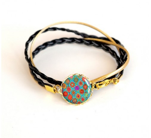 bracelet double tour noir et doré, bohême