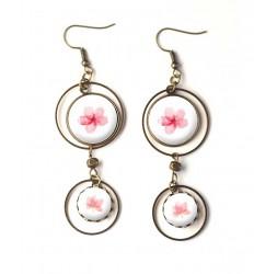 Boucles d'oreilles, double cabochon, fleurs rose, romantique, rose et blanc, bronze, bijoux pour femme