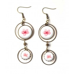 Orecchini, cabochon fiori rosa doppi, romantico, rosa e bronzo, gioielli della donna bianca