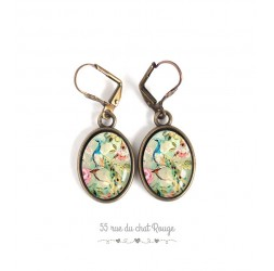 Boucles d'oreilles, ovale, motif rétro, shabby chic, paon, rose bleu pastel, bronze, bijoux pour femme