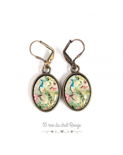 Earrings oval pattern retro, shabby chic, peacock blue pastel pink, bronze, woman's jewelry