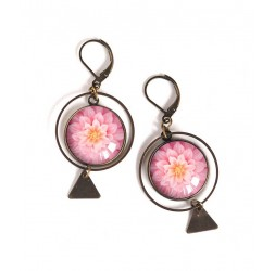 Earrings, round, pink dahlia bloom, bronze, woman's jewelry