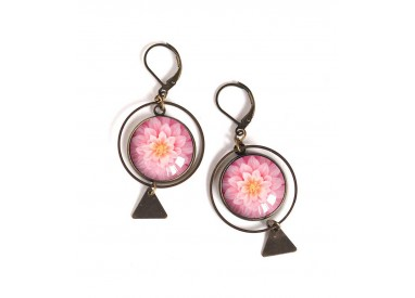 Earrings, round, pink dahlia bloom, bronze, woman's jewelry