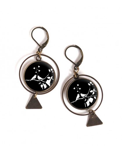 Earrings, round, small birds, black and white, bronze, woman's jewelry