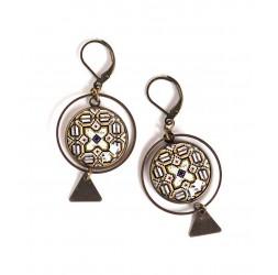 Boucles d'oreilles, rondes, azuleros, faïence portugaise, marron et blanc, bronze, bijoux pour femme