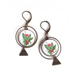 Boucles d'oreilles, rondes, flamant rose, feuille palmier, exotique, bronze, bijoux pour femme