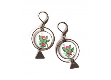 Earrings, round, pink flamingo, palm leaf, exotic, bronze, woman's jewelry
