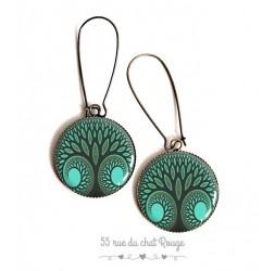 Orecchini, albero della vita, toni verdi, resina epossidica, bronzo, gioielli della donna