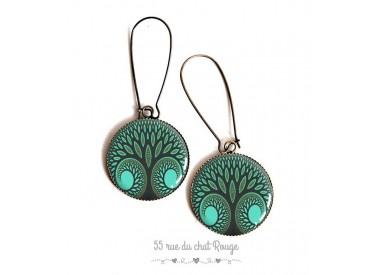 Earrings, tree of life, green tones, epoxy resin, bronze, woman's jewelry