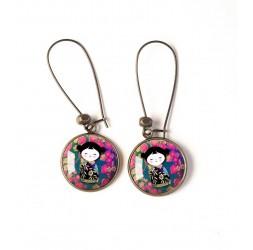 Boucles d'oreilles, ronde, kokeshi, poupée japonaise, fushia, turquoise, bronze, bijoux pour femme