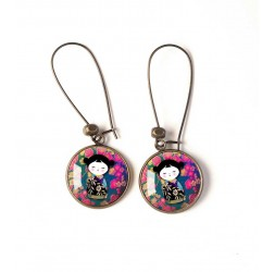 Earrings, round, Kokeshi, Japanese doll, fuchsia, turquoise, bronze, woman's jewelry