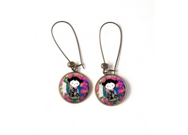 Earrings, round, Kokeshi, Japanese doll, fuchsia, turquoise, bronze, woman's jewelry