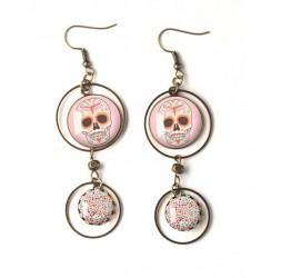 Boucles d'oreilles, double cabochon, tête de mort rose, gothique, bronze, bijoux pour femme