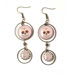 Orecchini, doppia cabochon teschio rosa, gotico, bronzo, gioielli della donna