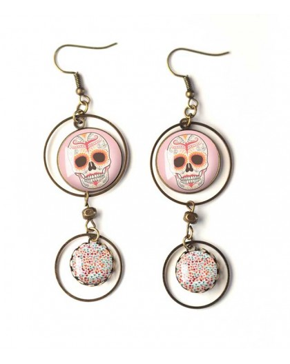 Earrings, double cabochon pink skull, gothic, bronze, woman's jewelry
