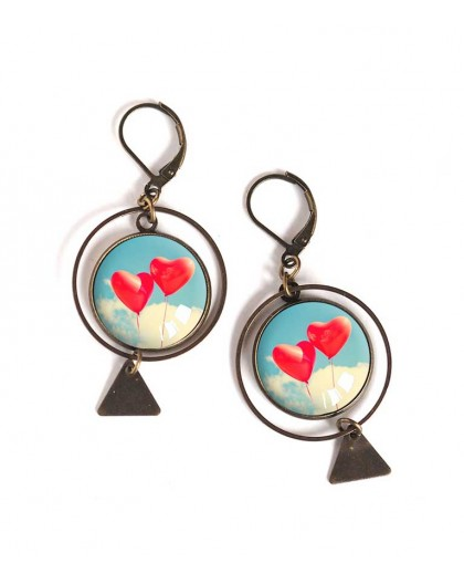 Earrings, round, heart in the clouds, bronze, woman's jewelry