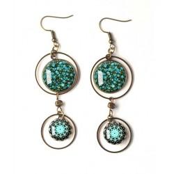 Boucles d'oreilles, double cabochon, style liberty fleuri, bleu canard, mandala, blanc, bronze, bijoux pour femme